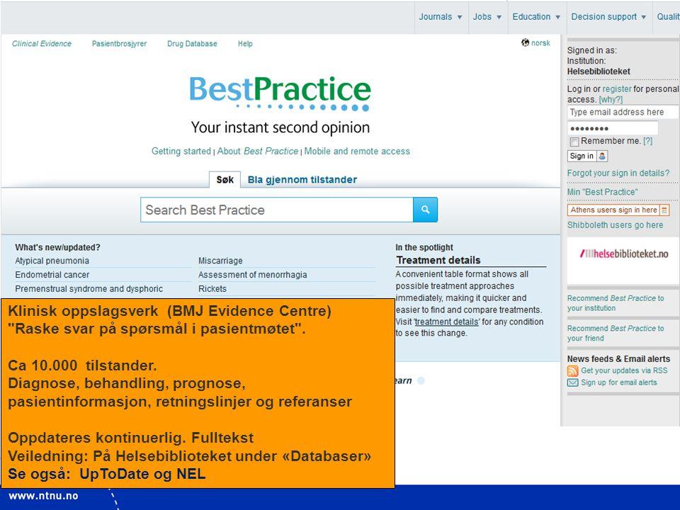 Klinisk oppslagsverk (BMJ Evidence Centre)