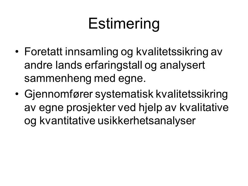 Estimering Foretatt innsamling og kvalitetssikring av andre lands erfaringstall og analysert sammenheng med egne.