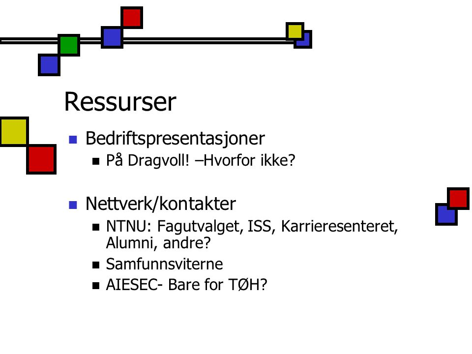 Ressurser Bedriftspresentasjoner Nettverk/kontakter