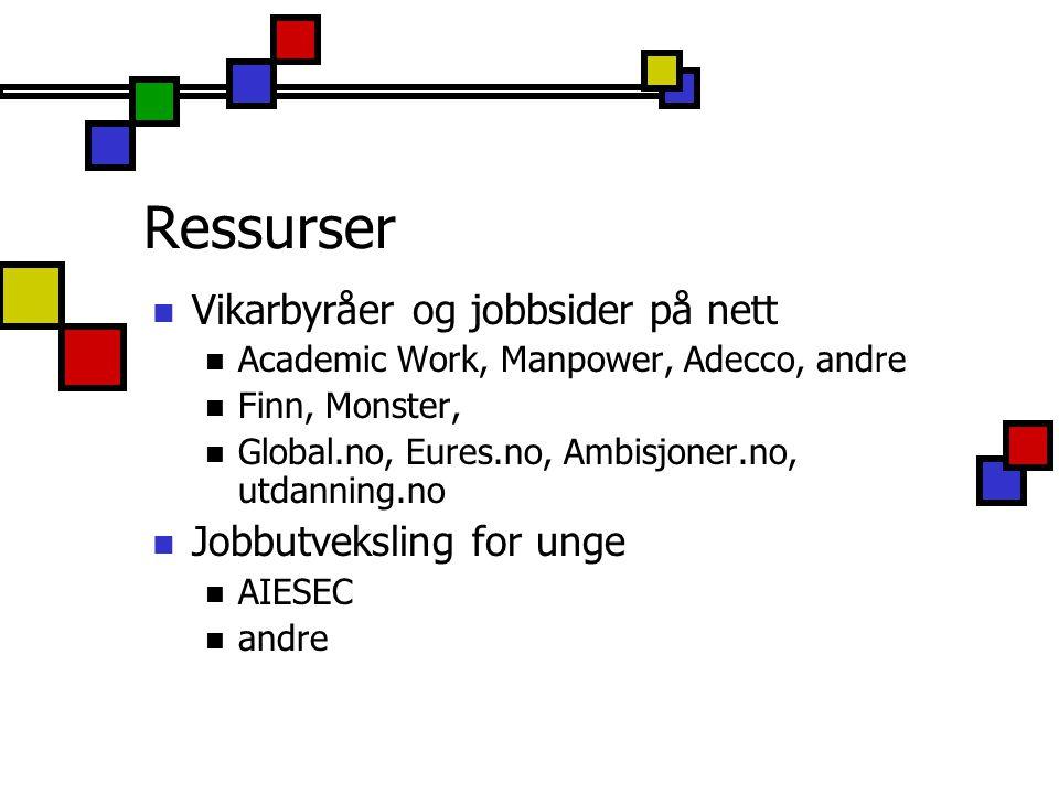 Ressurser Vikarbyråer og jobbsider på nett Jobbutveksling for unge