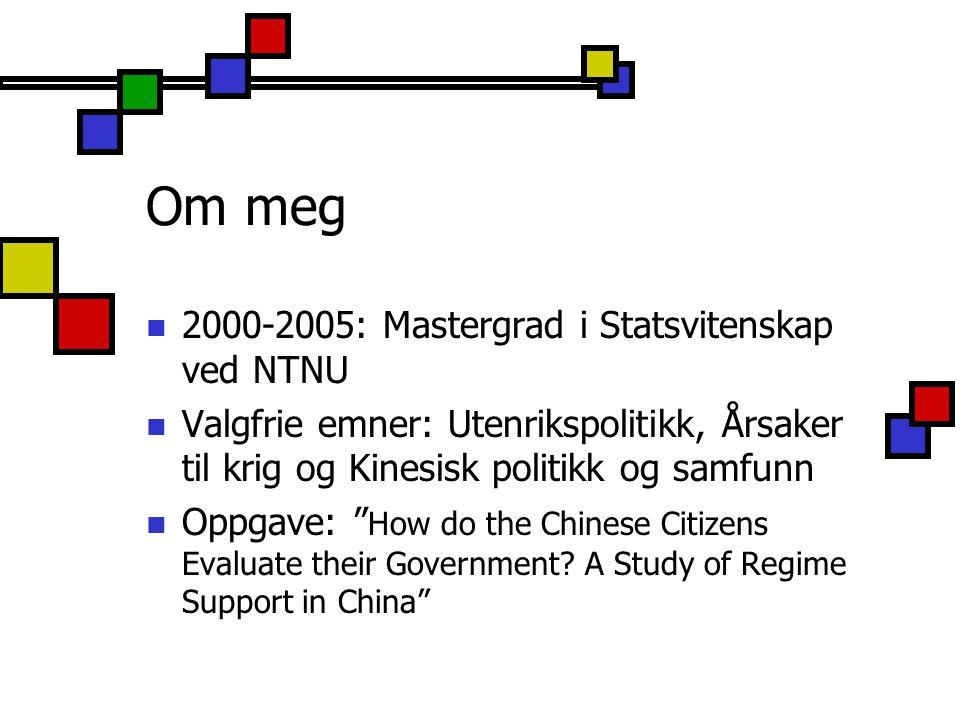 Om meg 2000-2005: Mastergrad i Statsvitenskap ved NTNU