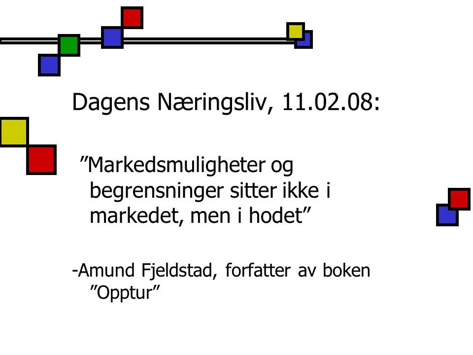 Dagens Næringsliv, 11.02.08: Markedsmuligheter og begrensninger sitter ikke i markedet, men i hodet