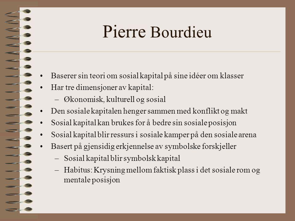 Pierre Bourdieu Baserer sin teori om sosial kapital på sine idéer om klasser. Har tre dimensjoner av kapital: