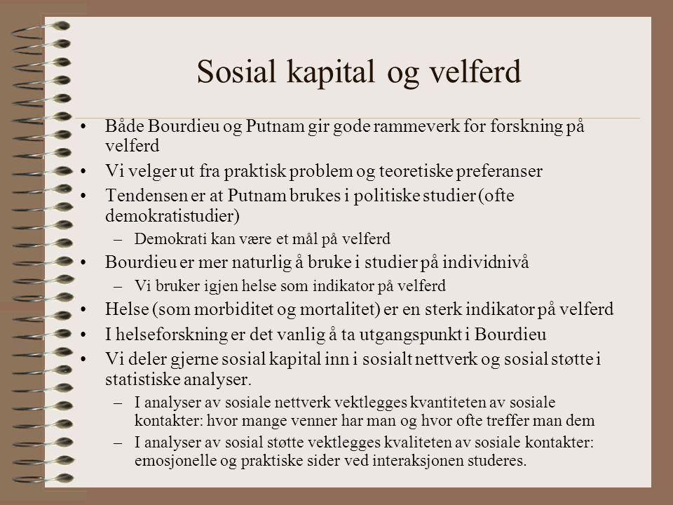 Sosial kapital og velferd