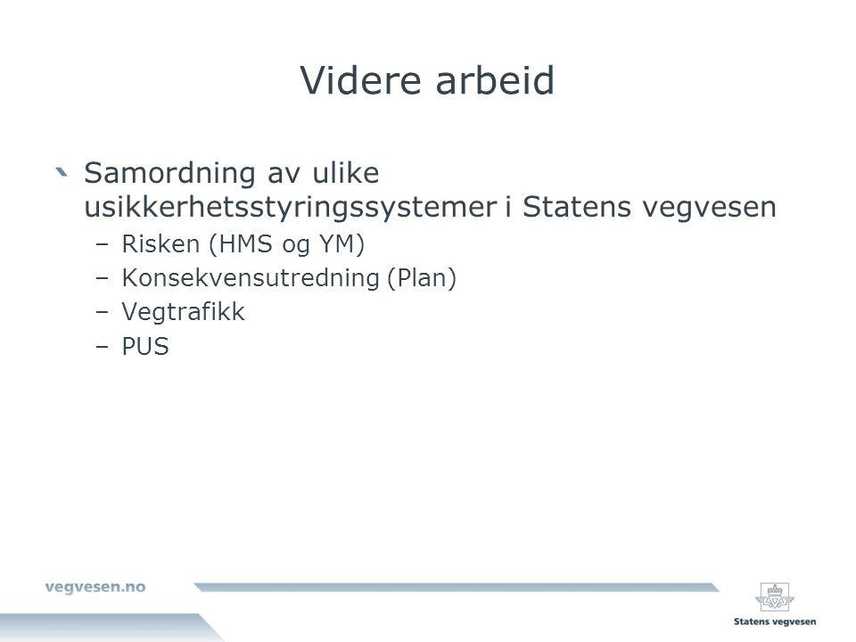 Videre arbeid Samordning av ulike usikkerhetsstyringssystemer i Statens vegvesen. Risken (HMS og YM)
