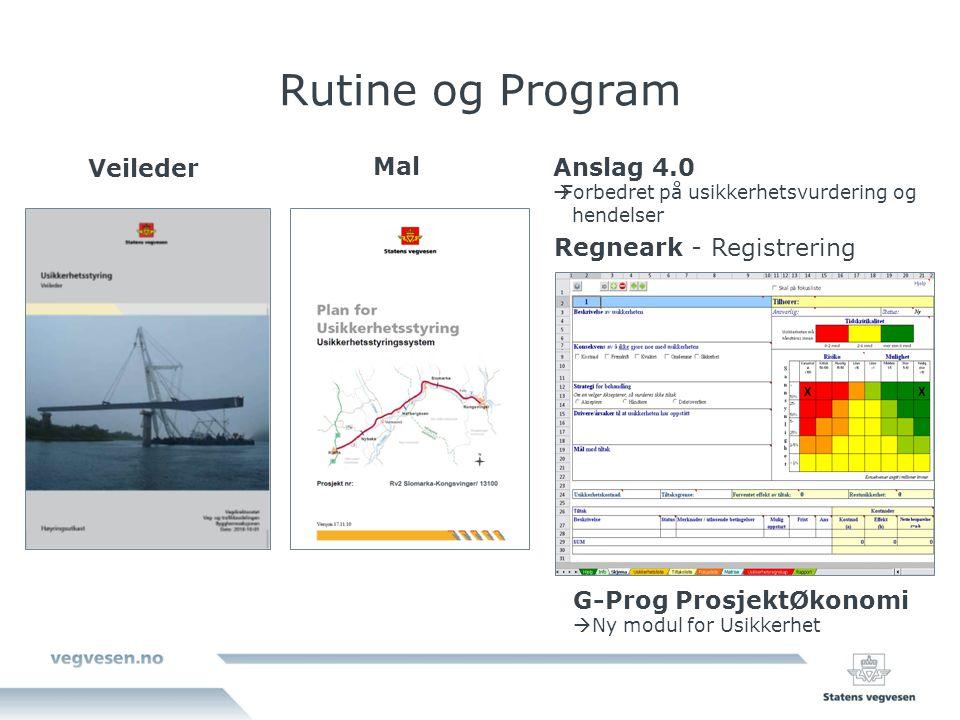 Rutine og Program Veileder Mal Anslag 4.0 Regneark - Registrering