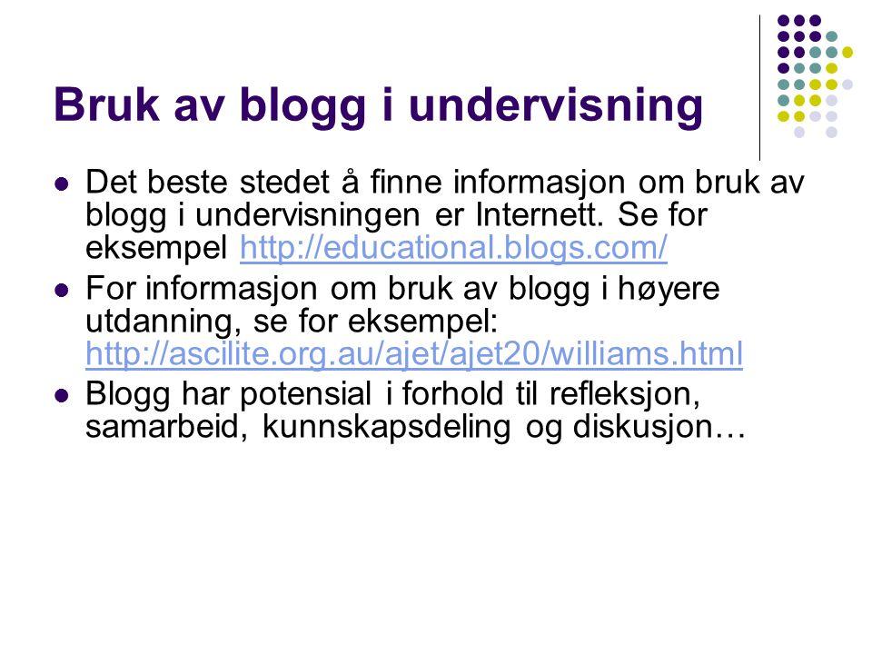 Bruk av blogg i undervisning