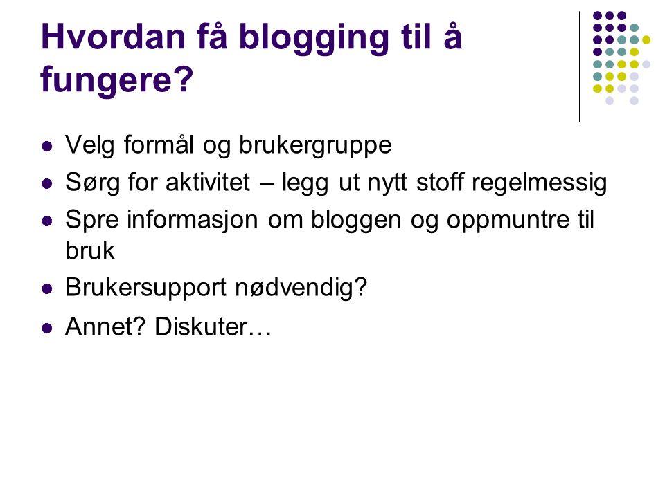 Hvordan få blogging til å fungere