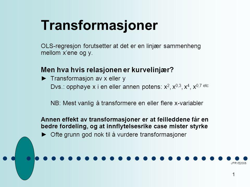 Transformasjoner Men hva hvis relasjonen er kurvelinjær
