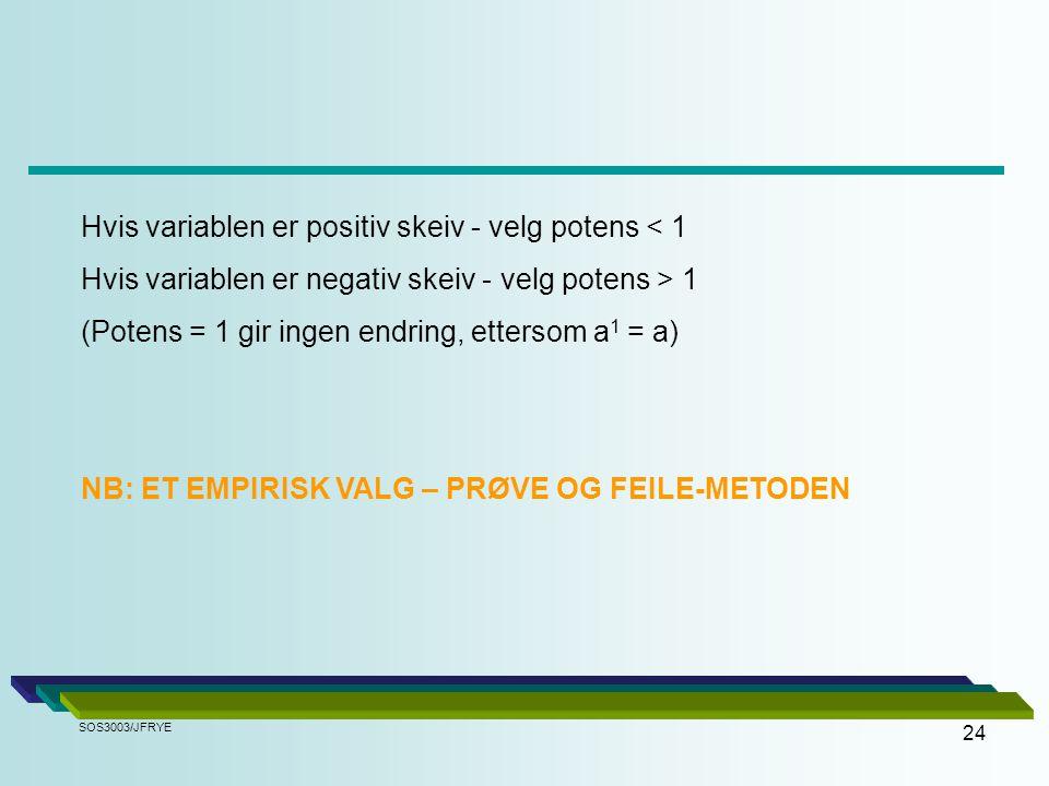 Hvis variablen er positiv skeiv - velg potens < 1