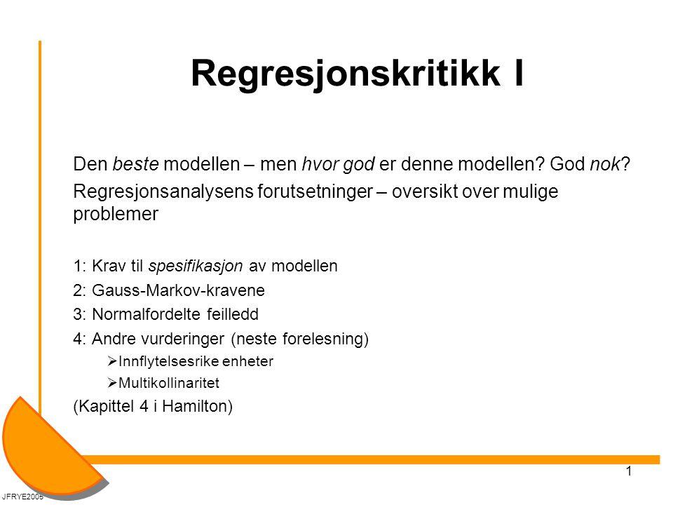 Regresjonskritikk I Den beste modellen – men hvor god er denne modellen God nok