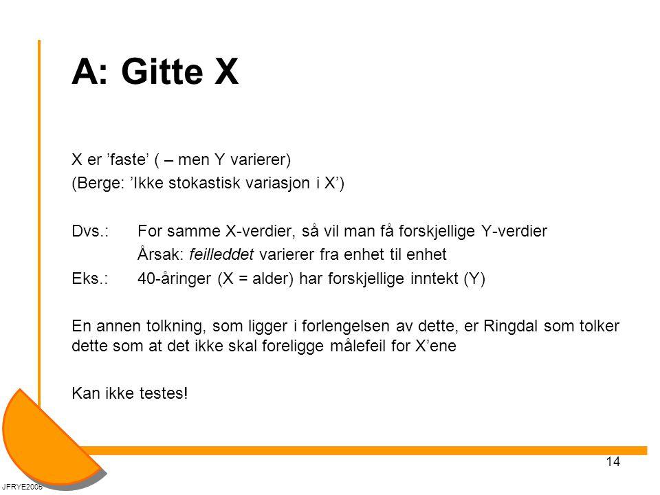 A: Gitte X X er 'faste' ( – men Y varierer)
