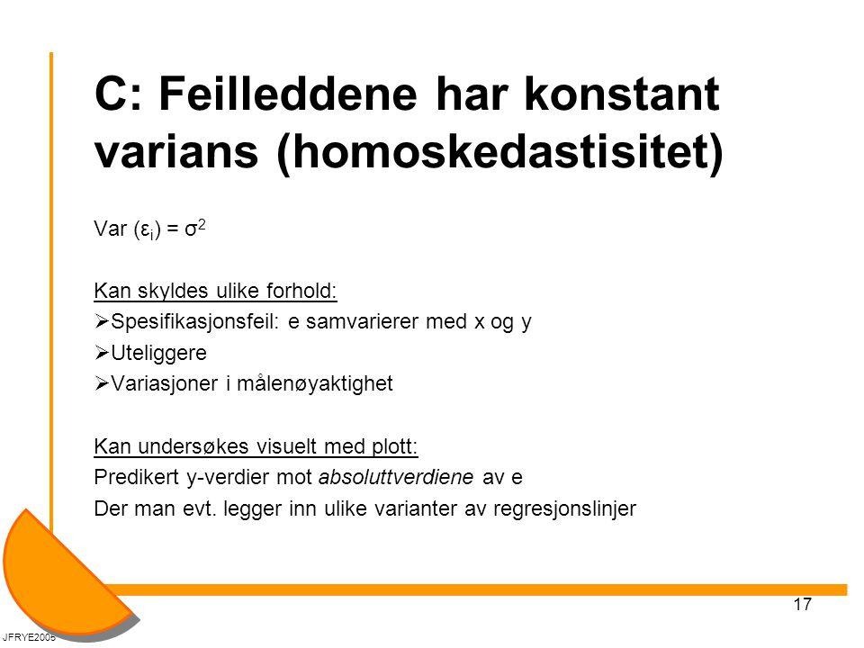 C: Feilleddene har konstant varians (homoskedastisitet)