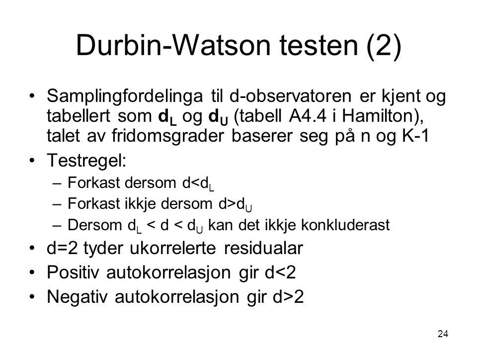 Durbin-Watson testen (2)