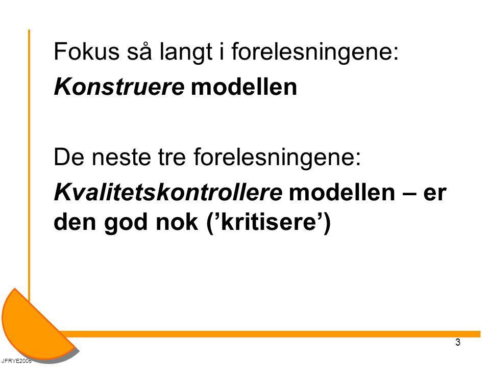 Fokus så langt i forelesningene: Konstruere modellen
