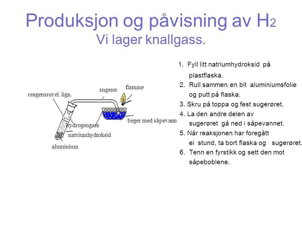 Produksjon og påvisning av H2 Vi lager knallgass.