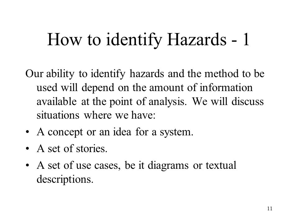 How to identify Hazards - 1