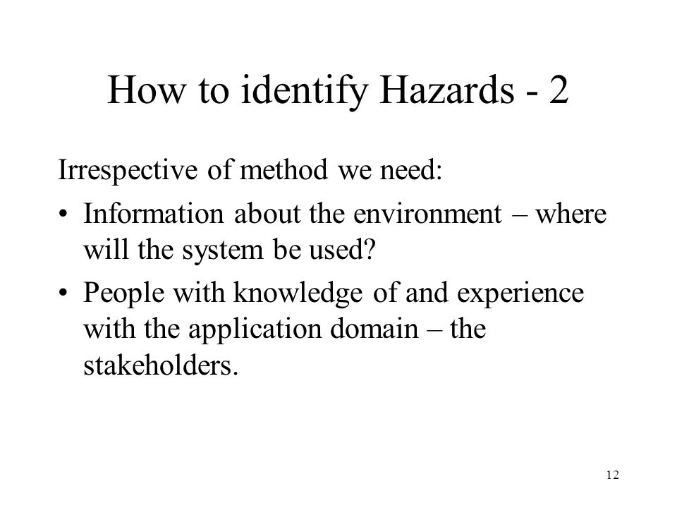 How to identify Hazards - 2