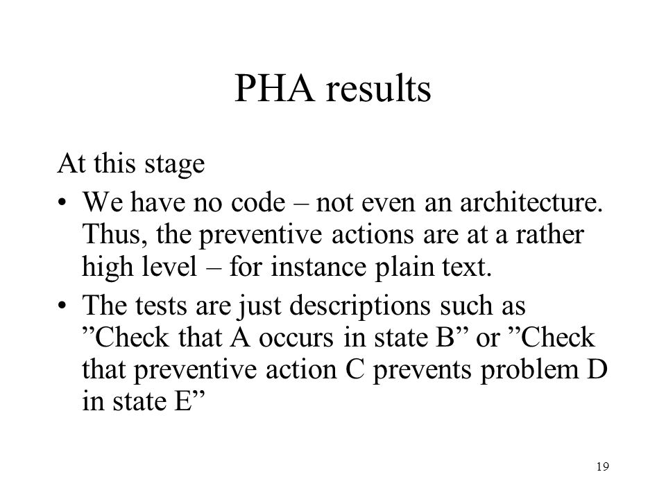 PHA results At this stage