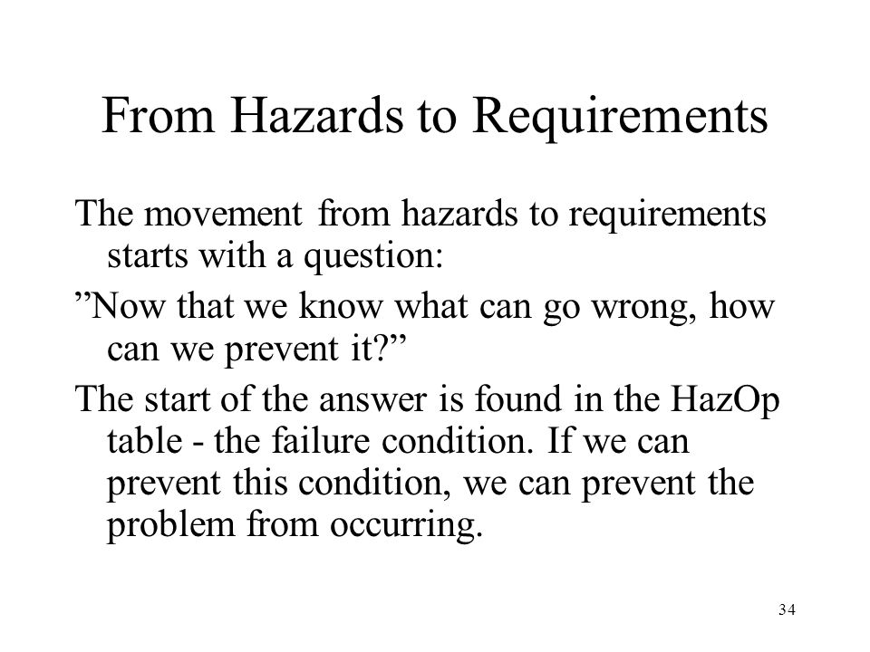 From Hazards to Requirements