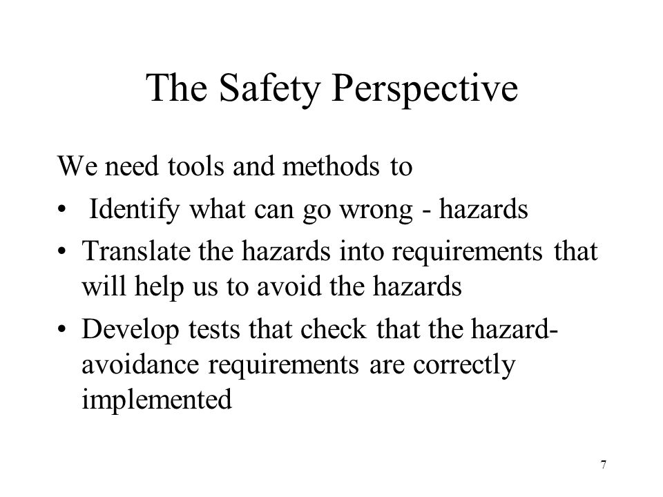 The Safety Perspective