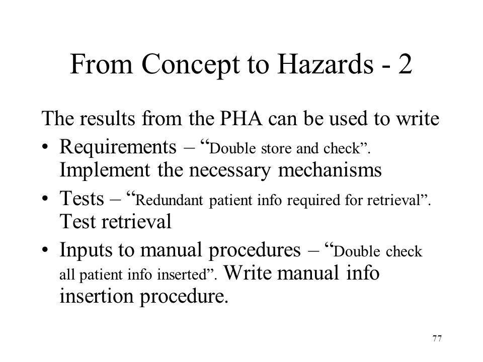 From Concept to Hazards - 2
