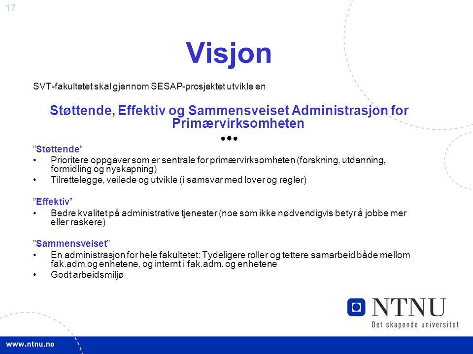 Visjon SVT-fakultetet skal gjennom SESAP-prosjektet utvikle en. Støttende, Effektiv og Sammensveiset Administrasjon for Primærvirksomheten.