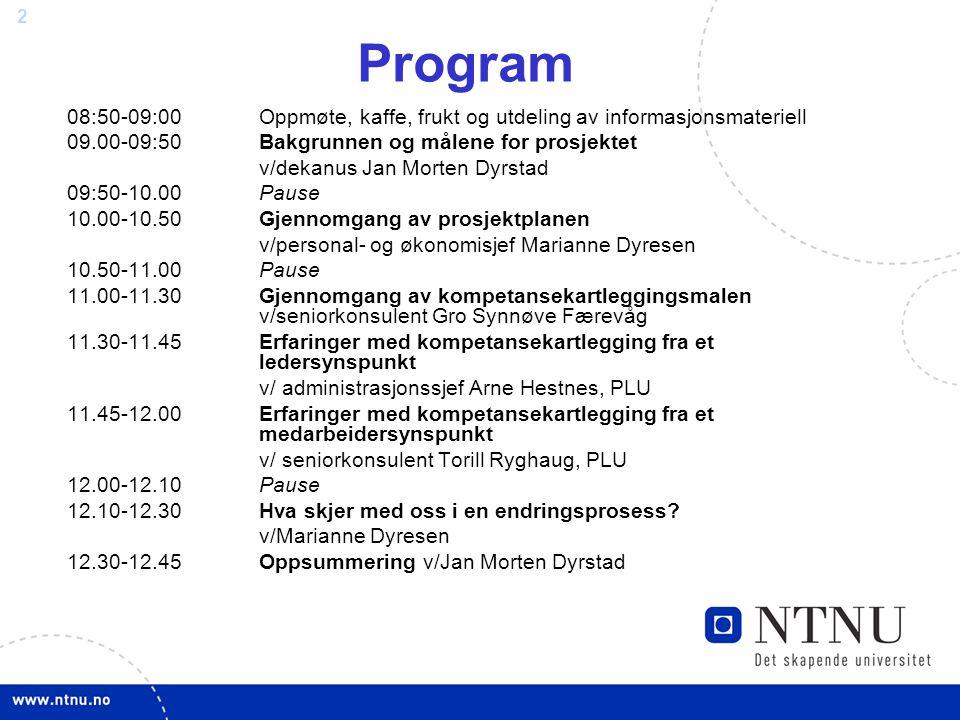 Program 08:50-09:00 Oppmøte, kaffe, frukt og utdeling av informasjonsmateriell. 09.00-09:50 Bakgrunnen og målene for prosjektet.