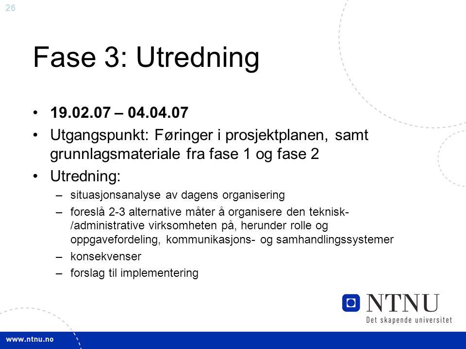 Fase 3: Utredning 19.02.07 – 04.04.07. Utgangspunkt: Føringer i prosjektplanen, samt grunnlagsmateriale fra fase 1 og fase 2.