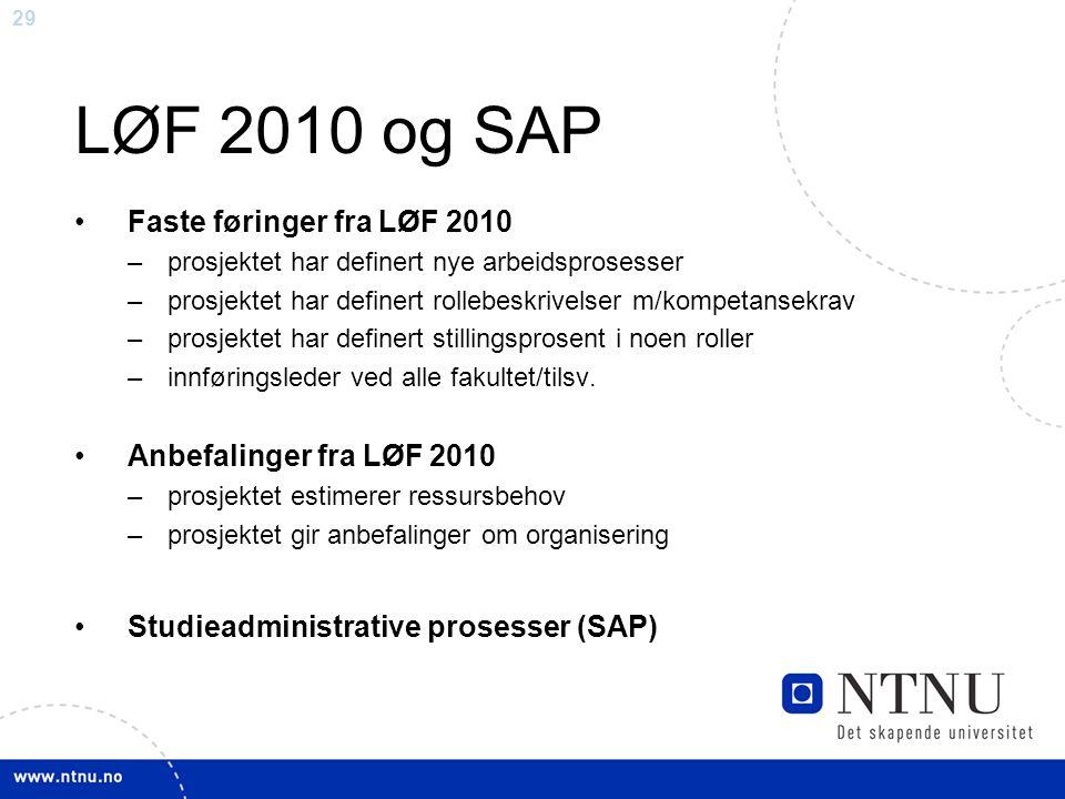LØF 2010 og SAP Faste føringer fra LØF 2010 Anbefalinger fra LØF 2010
