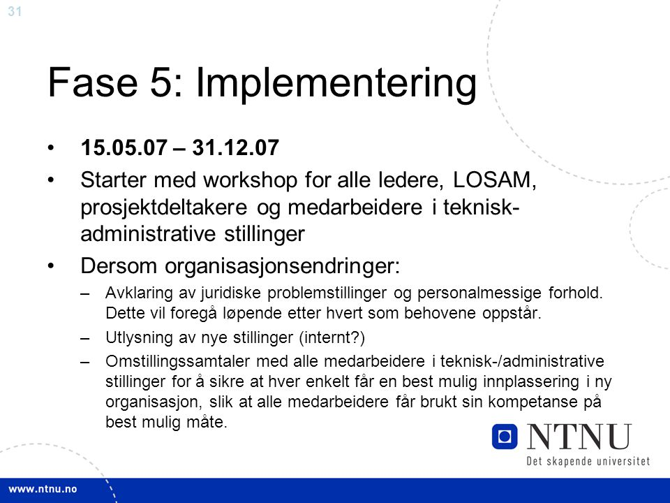 Fase 5: Implementering 15.05.07 – 31.12.07