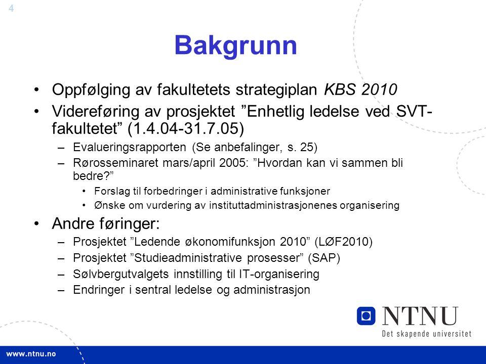 Bakgrunn Oppfølging av fakultetets strategiplan KBS 2010