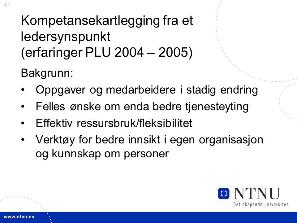 Kompetansekartlegging fra et ledersynspunkt (erfaringer PLU 2004 – 2005)