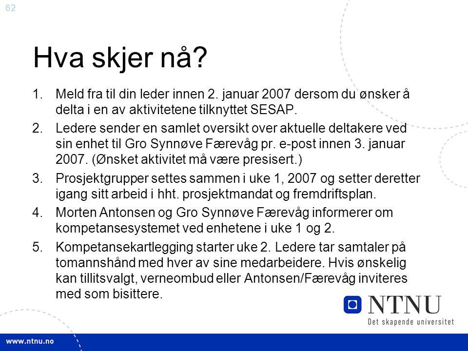 Hva skjer nå Meld fra til din leder innen 2. januar 2007 dersom du ønsker å delta i en av aktivitetene tilknyttet SESAP.