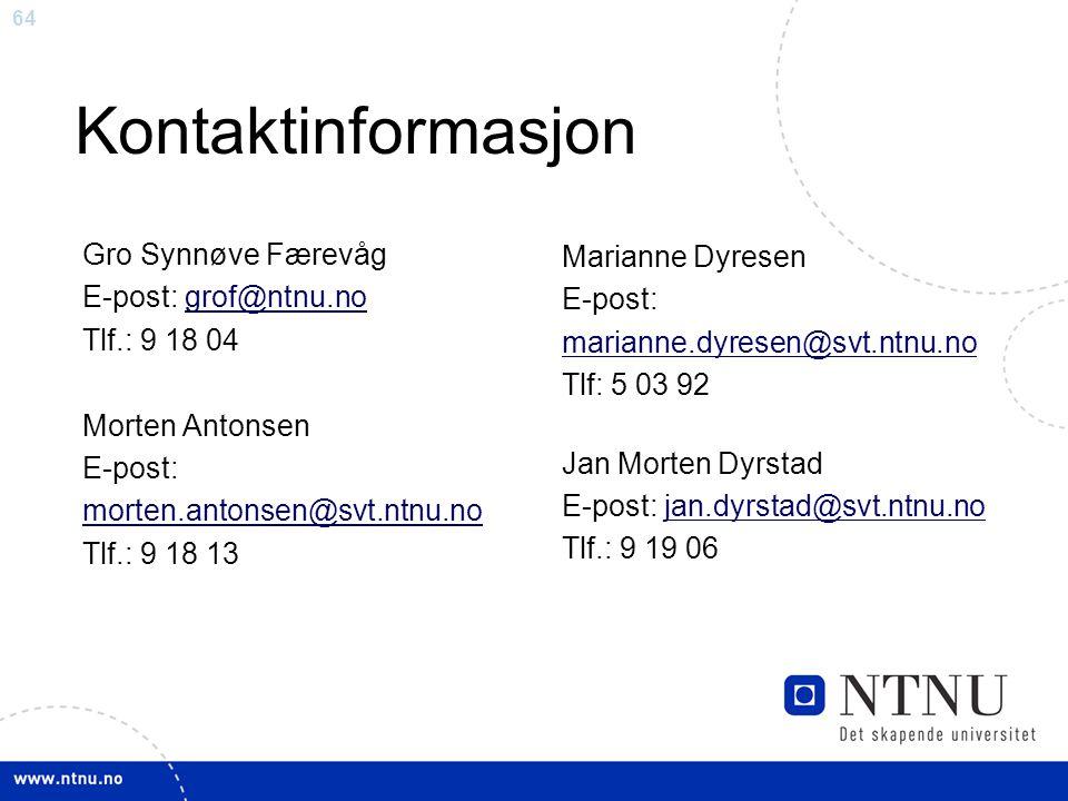Kontaktinformasjon Gro Synnøve Færevåg Marianne Dyresen