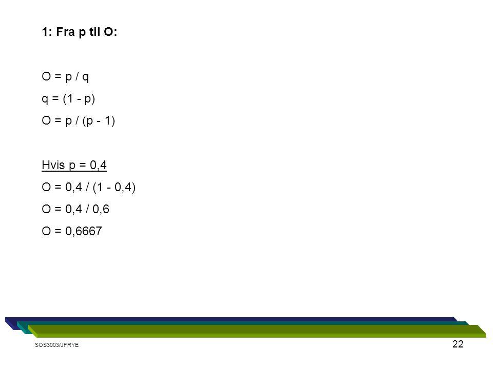 1: Fra p til O: O = p / q q = (1 - p) O = p / (p - 1) Hvis p = 0,4