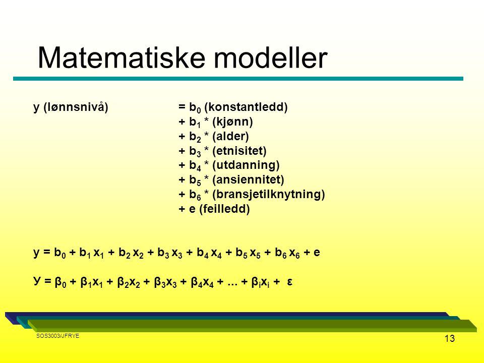 Matematiske modeller y (lønnsnivå) = b0 (konstantledd) + b1 * (kjønn)