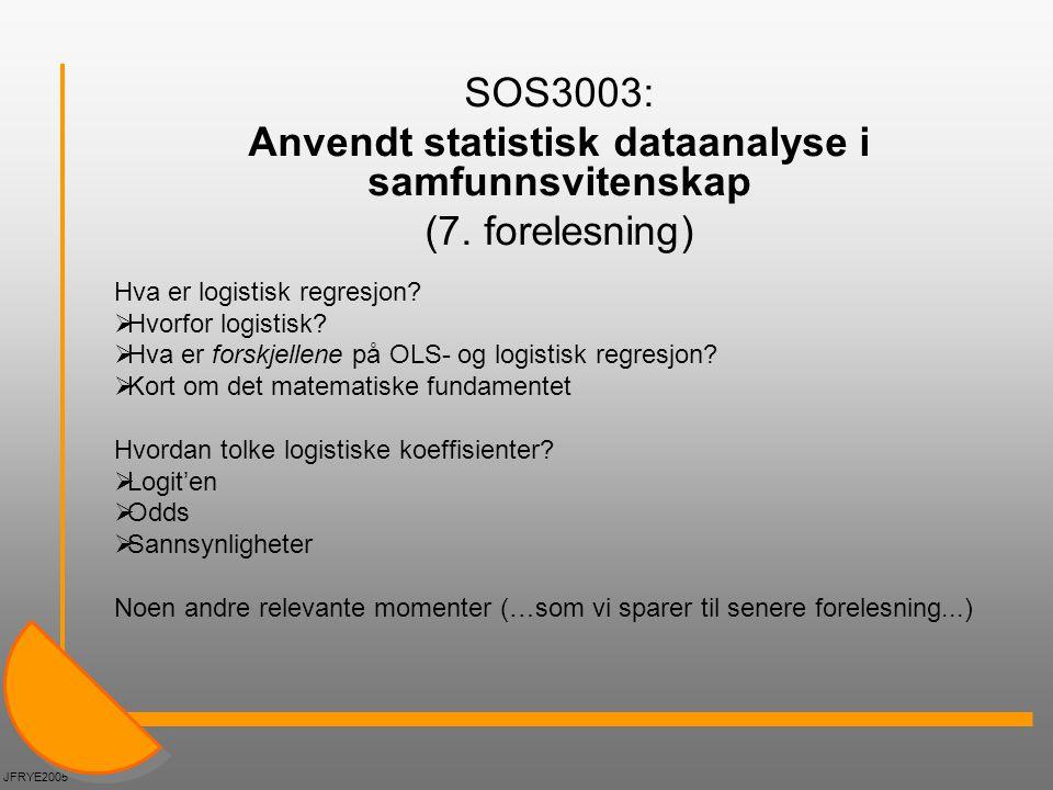 Anvendt statistisk dataanalyse i samfunnsvitenskap