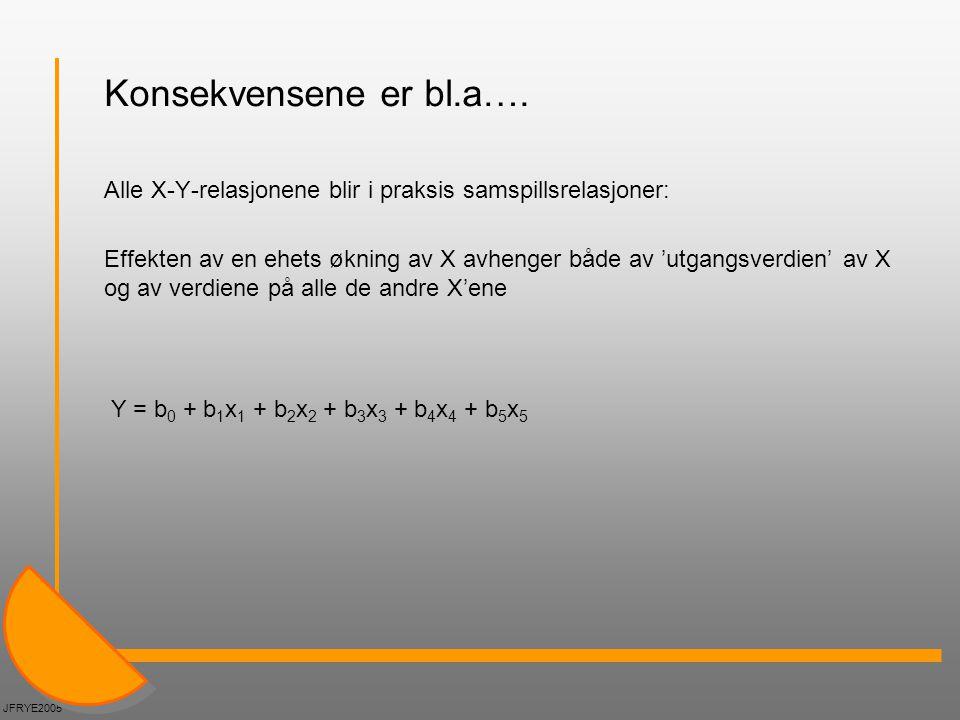 Konsekvensene er bl.a…. Alle X-Y-relasjonene blir i praksis samspillsrelasjoner: