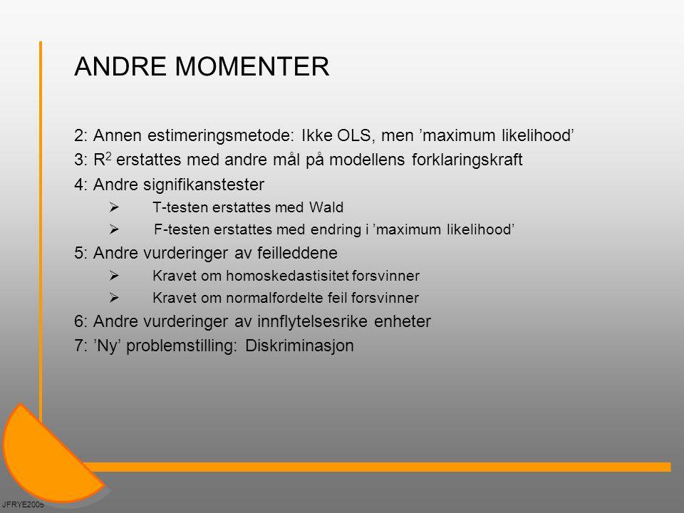 ANDRE MOMENTER 2: Annen estimeringsmetode: Ikke OLS, men 'maximum likelihood' 3: R2 erstattes med andre mål på modellens forklaringskraft.
