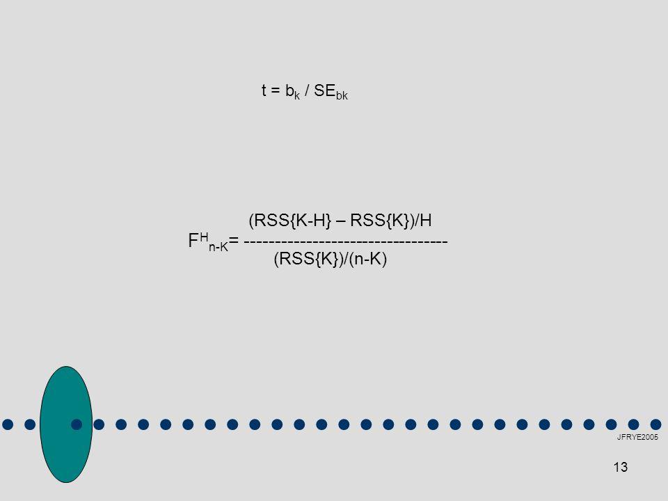 (RSS{K})/(n-K) FHn-K= --------------------------------- t = bk / SEbk