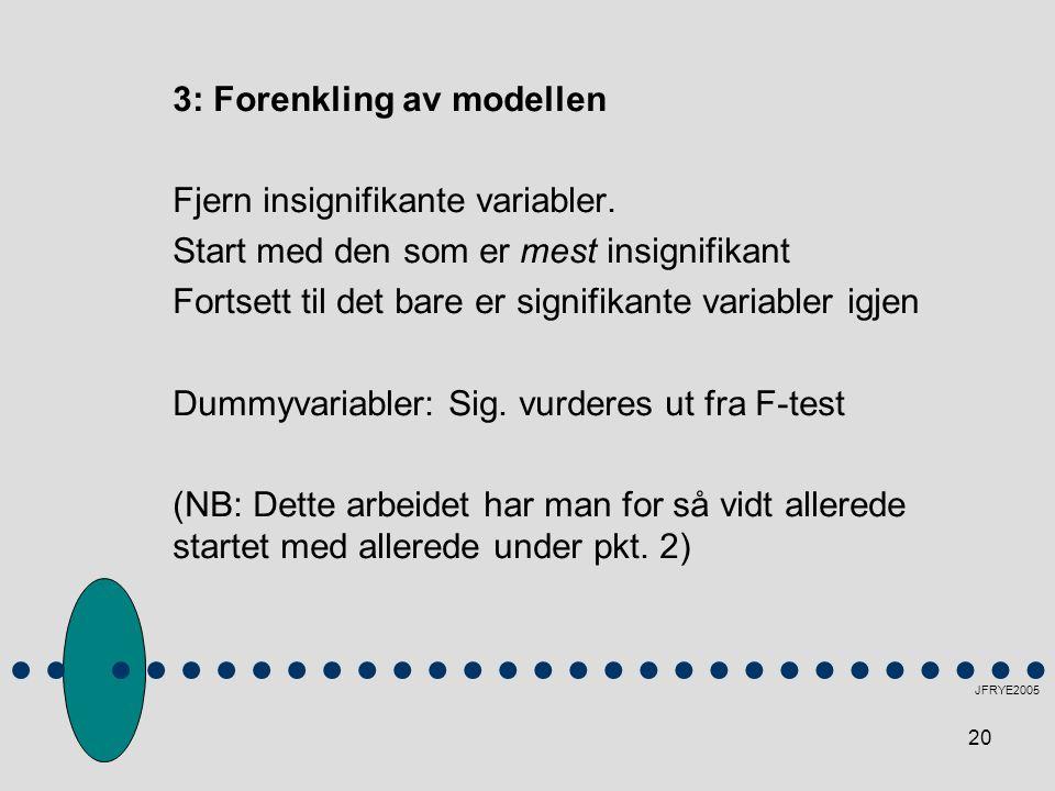 3: Forenkling av modellen Fjern insignifikante variabler.