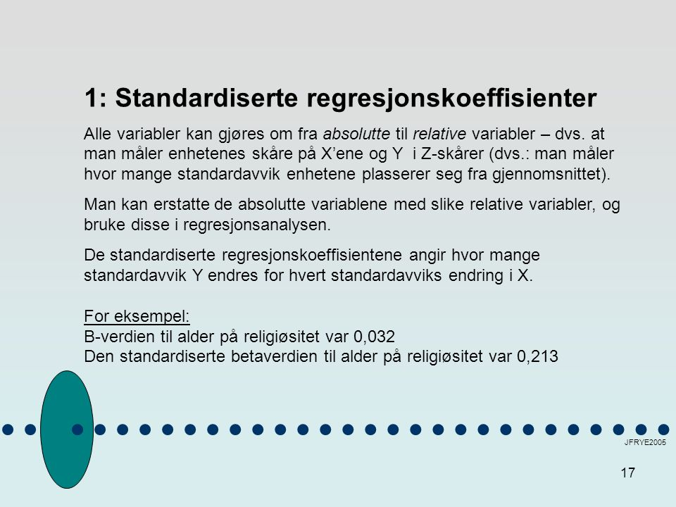 1: Standardiserte regresjonskoeffisienter