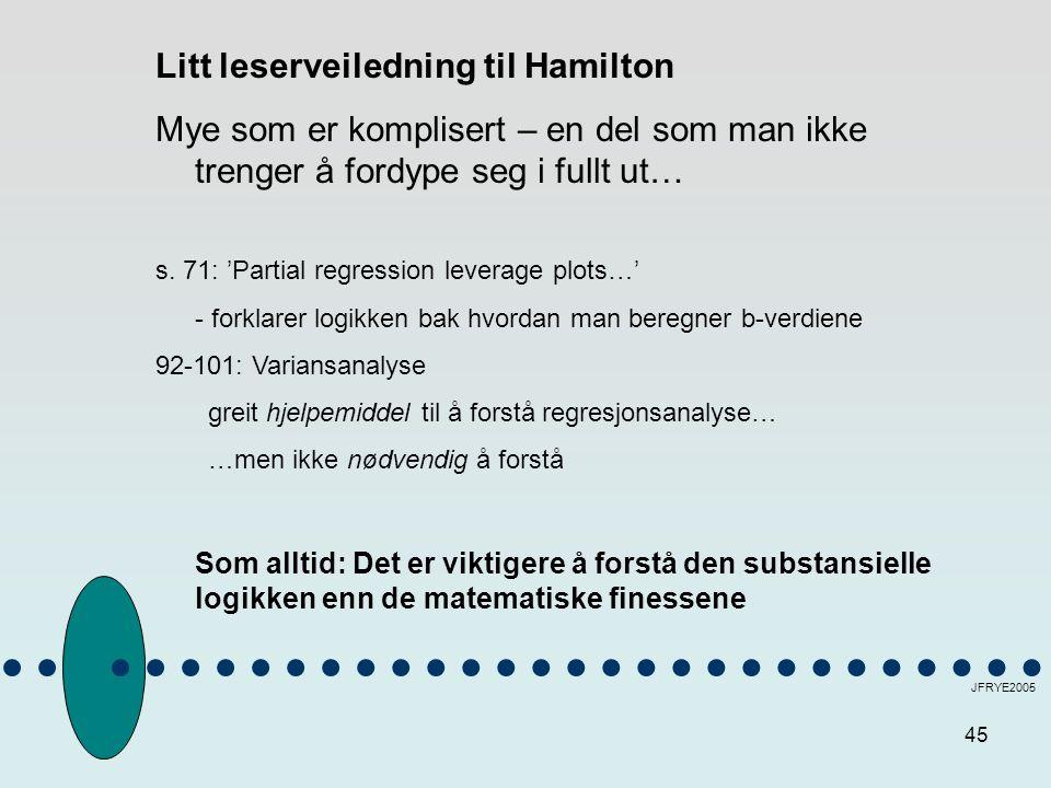 Litt leserveiledning til Hamilton