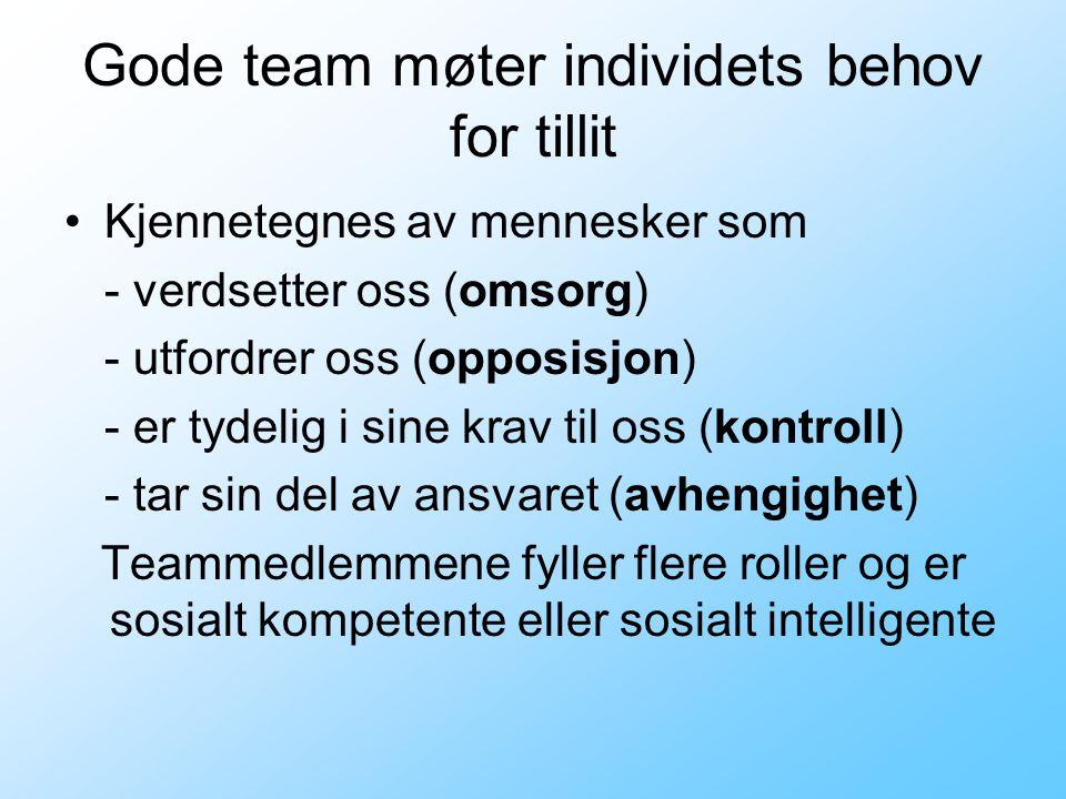 Gode team møter individets behov for tillit