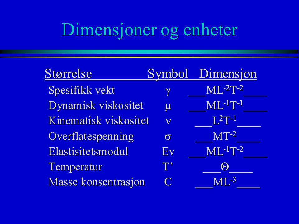 Dimensjoner og enheter