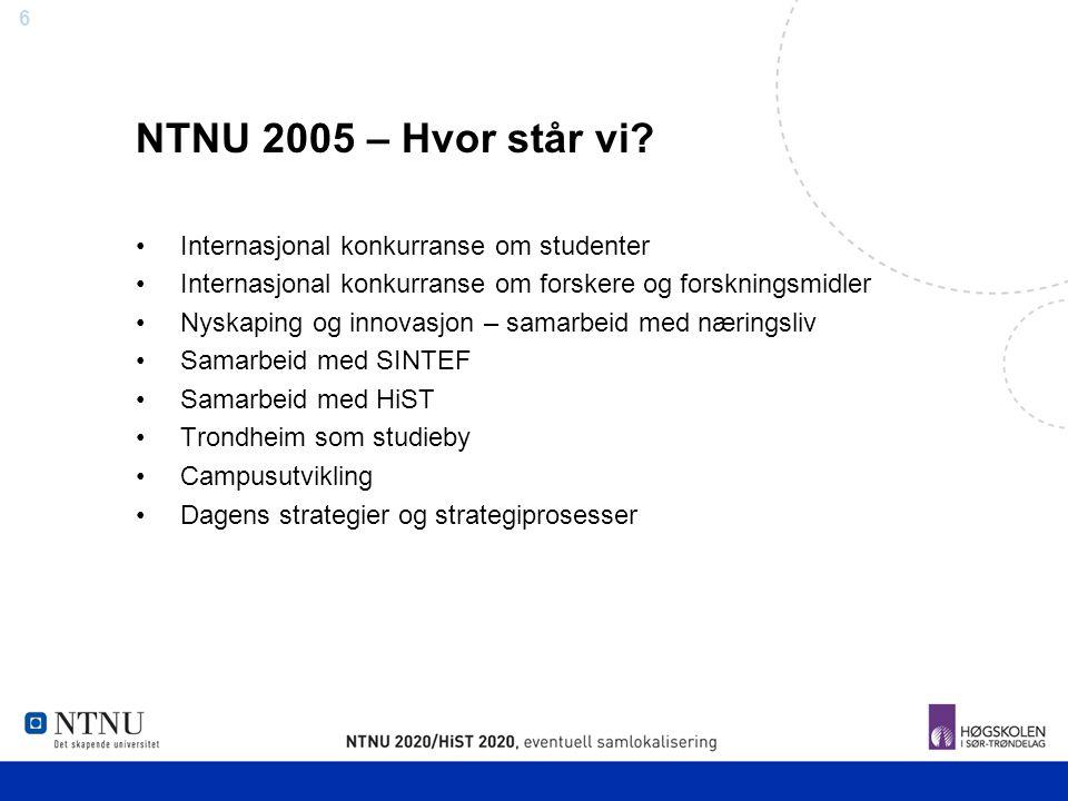 NTNU 2005 – Hvor står vi Internasjonal konkurranse om studenter