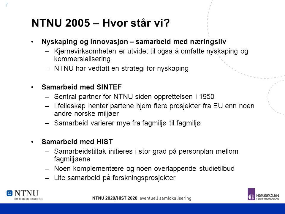 NTNU 2005 – Hvor står vi Nyskaping og innovasjon – samarbeid med næringsliv.