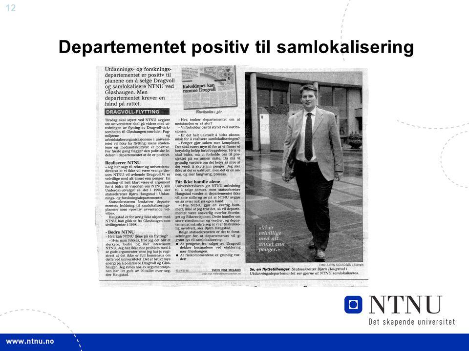 Departementet positiv til samlokalisering