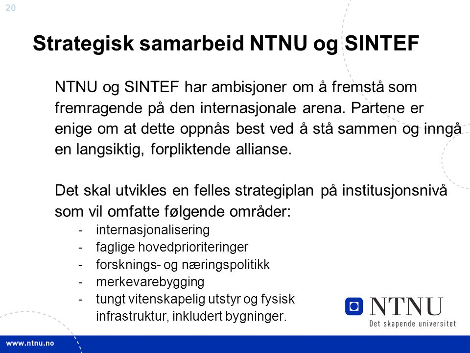 Strategisk samarbeid NTNU og SINTEF